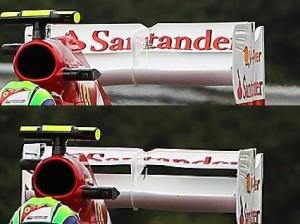 Traseira da Ferrari F2012 parece ficar instável nas freadas ao fechar o DRS, por culpa de sua interação com o difusor.