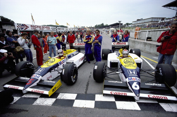 Nigel Mansell, Nelson Piquet, Great Britain, Brands Hatch, 13 July 1986. (Photo by Rainer W. Schlegelmilch/Getty Images)