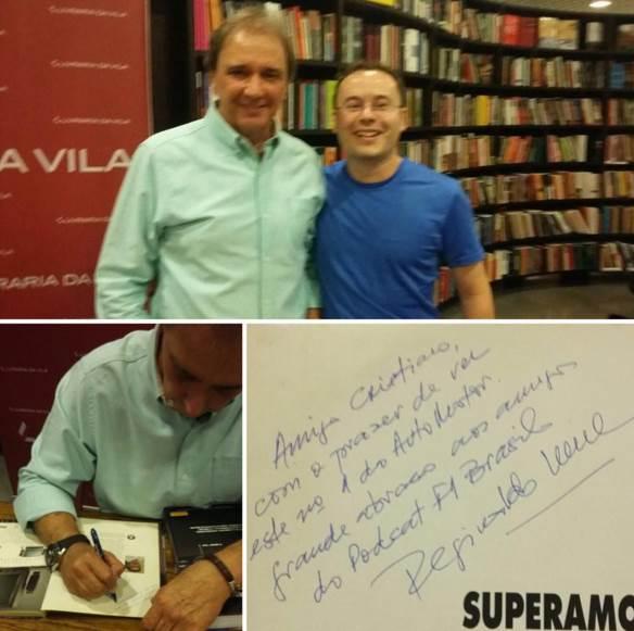 Mestre Cristiano Seixas e o autógrafo com o abraço de Regi para o PF1B.
